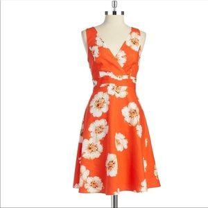 Ivanka Trump Orange Floral Linen Fit & Flare Dress